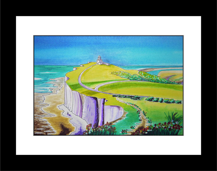 Across the Downs to Belle Tout - black frame