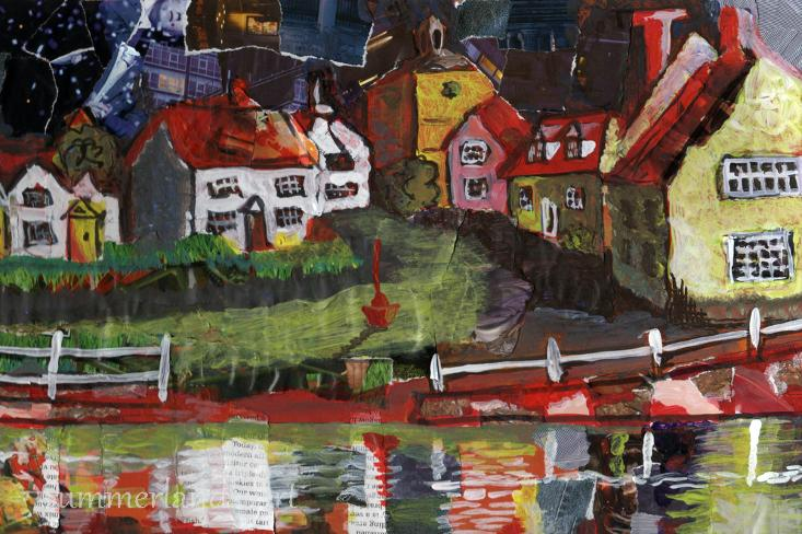 Finchingfield at Night - collage