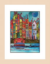Harbourside - pen and watercolour dye painting
