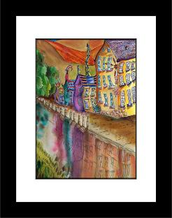 Hebden Bridge - framed print black