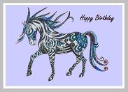 Horse 1 lilac background frame and happy birthday