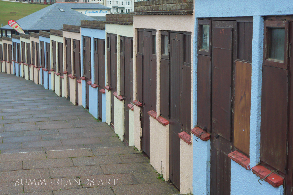 Photo of beach huts in Bude, Cornwall