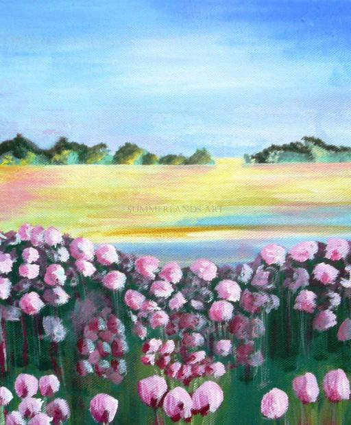 Landscape with flowers - acrylic painting
