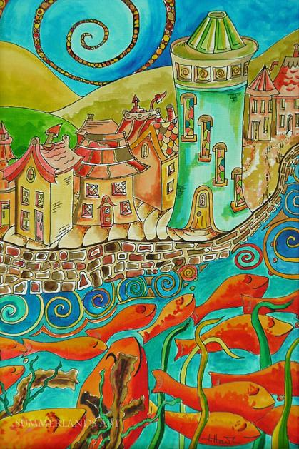 Plenty More Fish in the Sea Summerlands Art Pictures and Paintings Townscapes and Fantasy