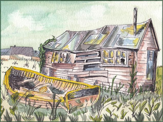Seen Better Days - pen and wash painting