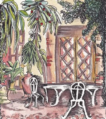 Pen and wash painting of Spanish courtyard