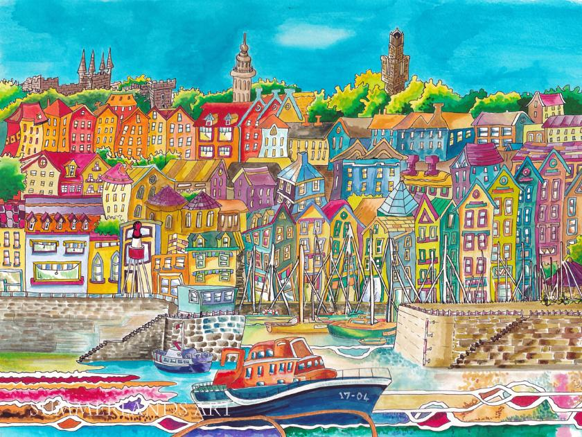 St Peter Port Harbour pen and watercolour painting unframed