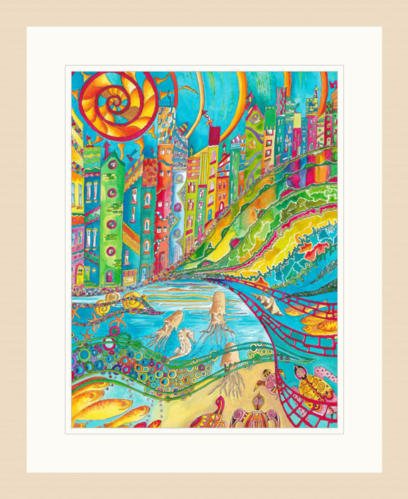 Swim to Greet the Sun print Light Wood Frame
