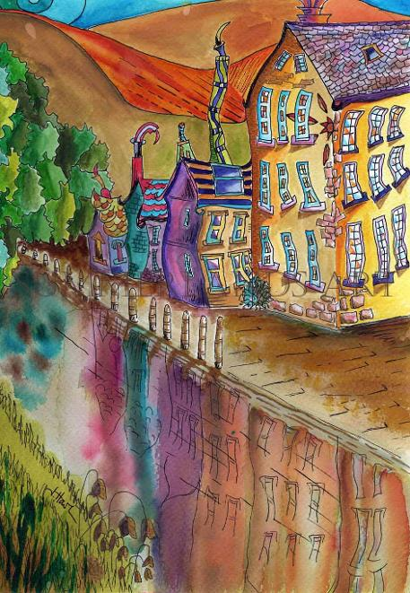 Painting of Hebden Bridge - pen and watercolour dye